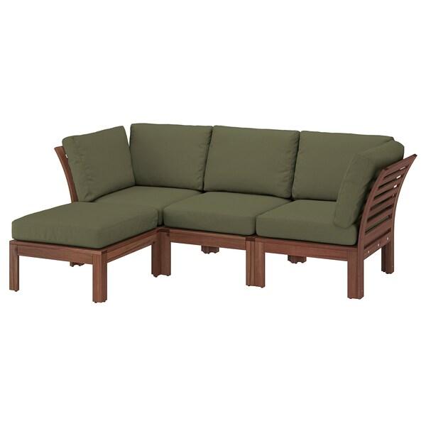 ÄPPLARÖ 3-seat modular sofa, outdoor, with footstool brown stained/Frösön/Duvholmen dark beige-green, 143/223x80x84 cm