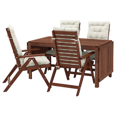 ÄPPLARÖ Table+4 reclining chairs, outdoor, brown stained/Kuddarna beige