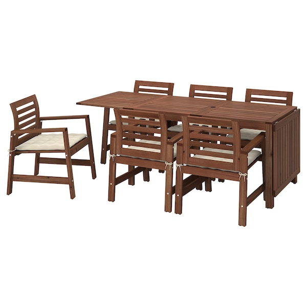 ÄPPLARÖ Table+6 chairs w armrests, outdoor, brown stained/Hållö beige