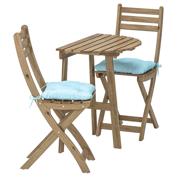 ASKHOLMEN Table f wall+2 fold chairs, outdoor, grey-brown stained/Kuddarna light blue