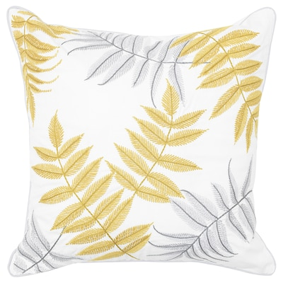 BACKKLÖVER Cushion cover, leaves yellow/grey, 50x50 cm