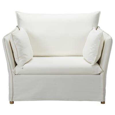BACKSÄLEN Cover for 1,5-seat armchair, Blekinge white