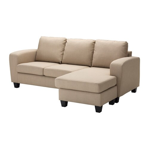 BALDERUM Two seat sofa with chaise longue Skiftebo beige IKEA