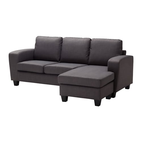 BALDERUM Two seat sofa with chaise longue Skiftebo dark grey IKEA