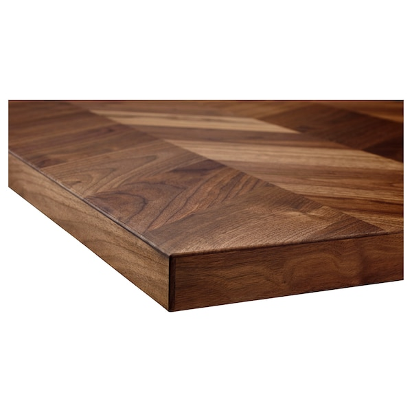 BARKABODA Custom made worktop, walnut/veneer, 63.6-125x3.8 cm