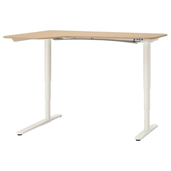BEKANT corner desk left sit/stand white stained oak veneer/white 160 cm 110 cm 65 cm 125 cm 70 kg