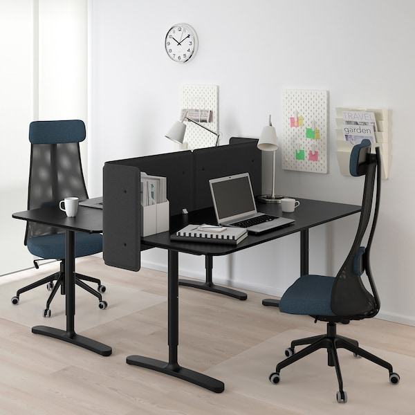BEKANT desk with screen black stained ash veneer/black 55 cm 160 cm 160 cm 65 cm 125 cm 70 kg