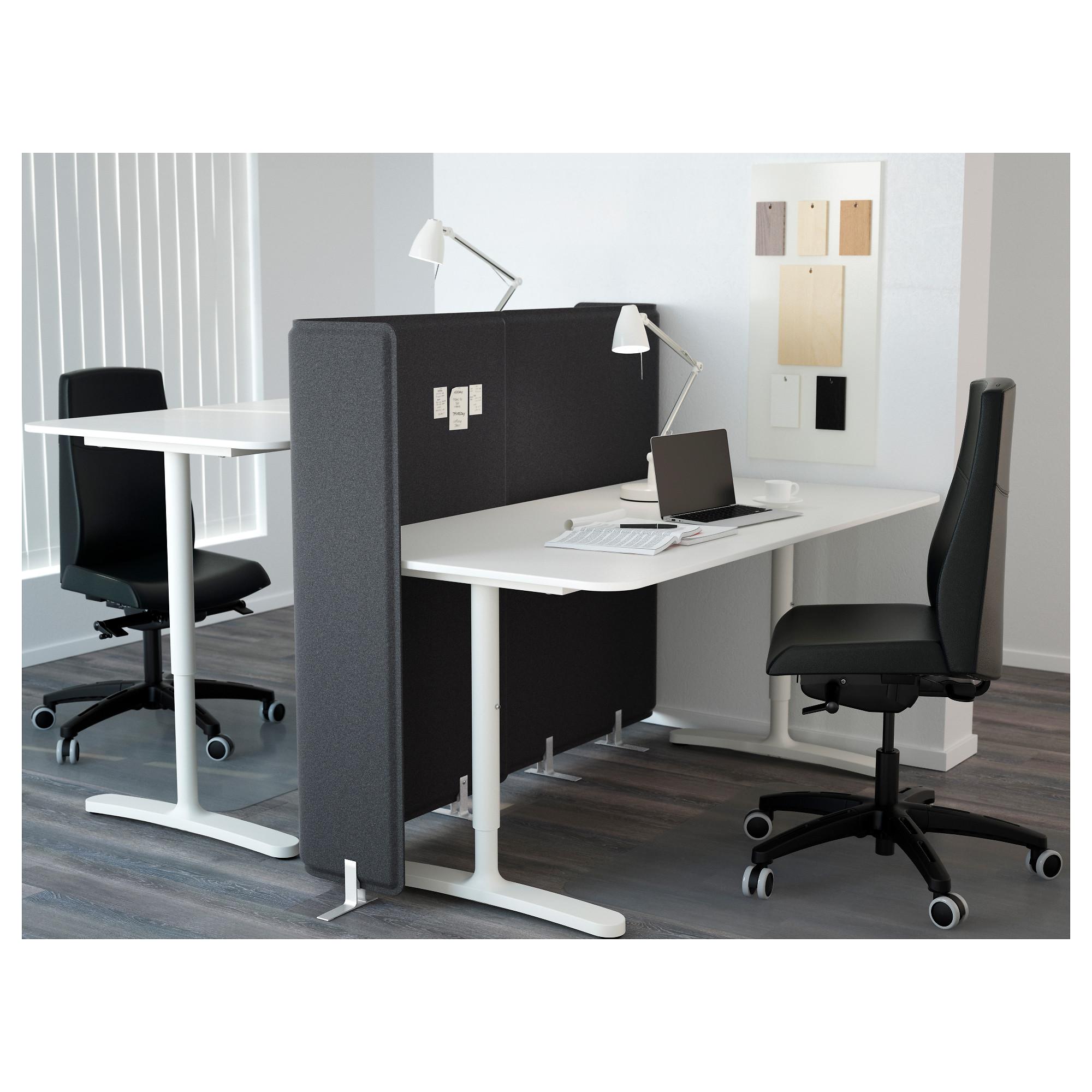 BEKANT Desk with screen, white, 160x160 120 cm