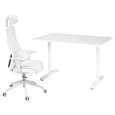 BEKANT / MATCHSPEL Desk and chair, white