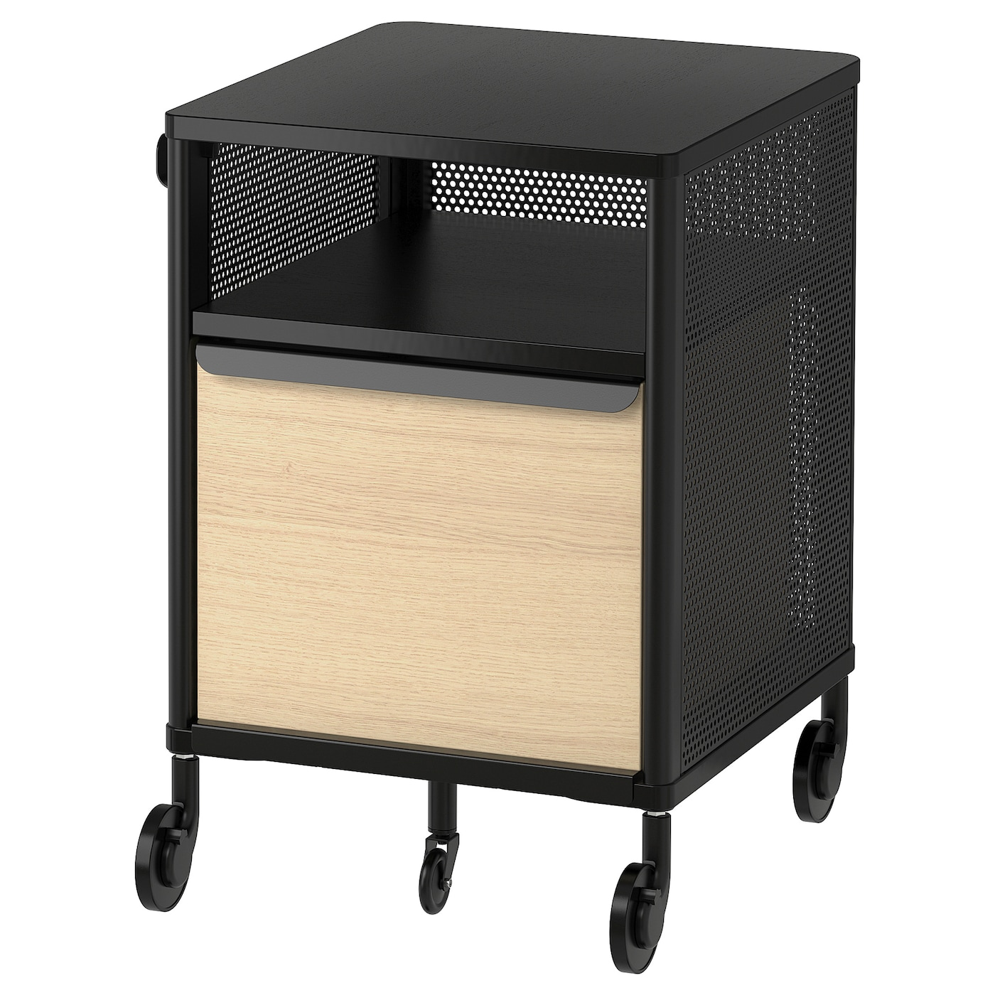 IKEA BEKANT storage unit on castors Integrated damper closes the drawer silently and gently.