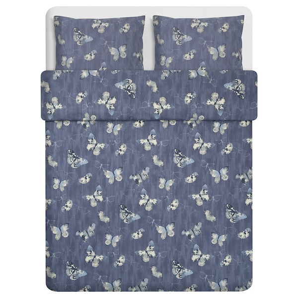 BERGKÅREL Quilt cover and 2 pillowcases, dark blue/butterfly, 240x220/50x60 cm