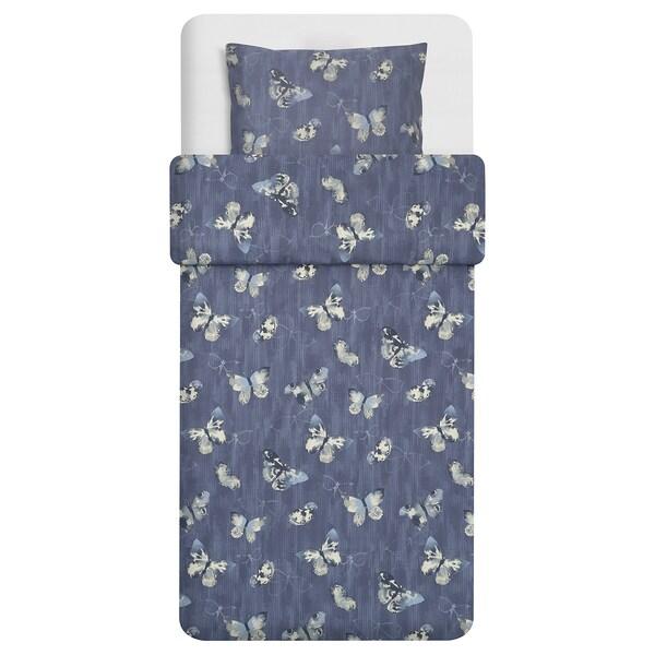 BERGKÅREL quilt cover and pillowcase dark blue/butterfly 250 /inch² 1 pack 200 cm 150 cm 50 cm 60 cm