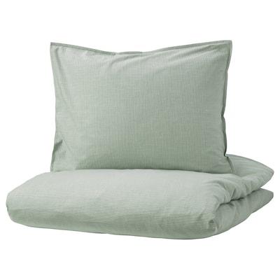 BERGPALM Duvet cover and 2 pillowcases, green/stripe, 240x220/50x60 cm