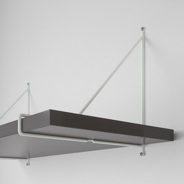 BERGSHULT / PERSHULT Wall shelf, dark grey/white, 80x30 cm