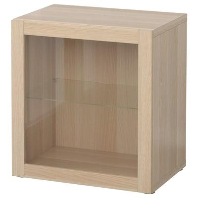 BESTÅ Shelf unit with glass door, white stained oak effect/Sindvik white stained oak eff clear glass, 60x42x64 cm