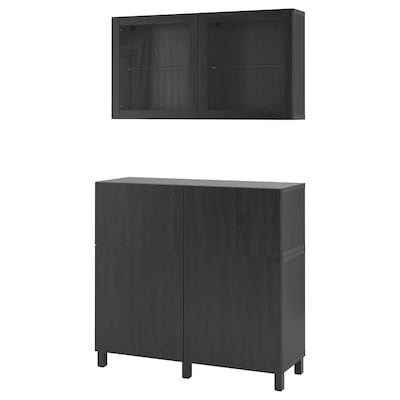 BESTÅ Storage combination w doors/drawers, black-brown/Lappviken/Stubbarp black-brown clear glass, 120x42x213 cm