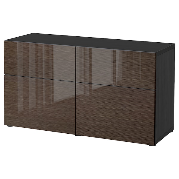 BESTÅ storage combination w doors/drawers black-brown/Selsviken high-gloss/brown 120 cm 42 cm 65 cm