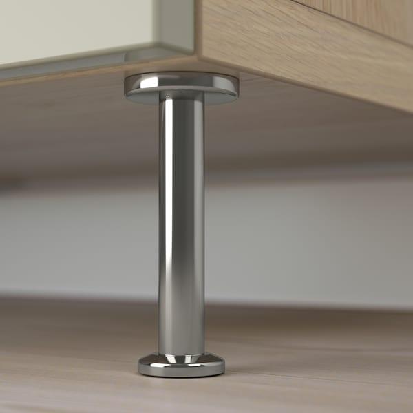 BESTÅ Storage combination w doors/drawers, white stained oak effect/Selsviken/Stallarp high-gloss/beige, 120x40x74 cm