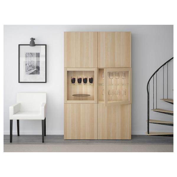 BESTÅ Storage combination w glass doors, Lappviken/Sindvik white stained oak eff clear glass, 120x40x192 cm