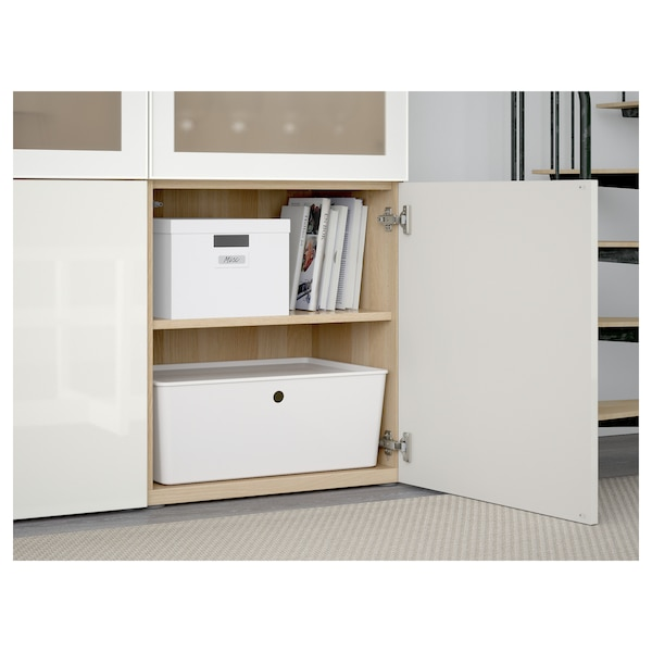 BESTÅ Storage combination w glass doors, white stained oak effect/Selsviken high-gloss/white frosted glass, 120x42x193 cm
