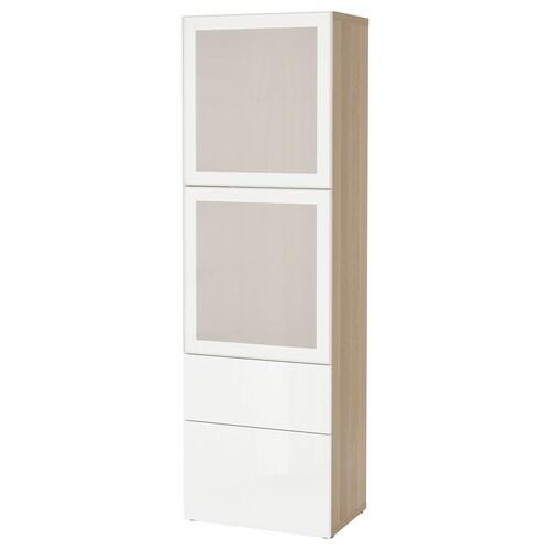 BESTÅ storage combination w glass doors white stained oak effect/Selsviken high-gloss/white frosted glass 60 cm 42 cm 193 cm