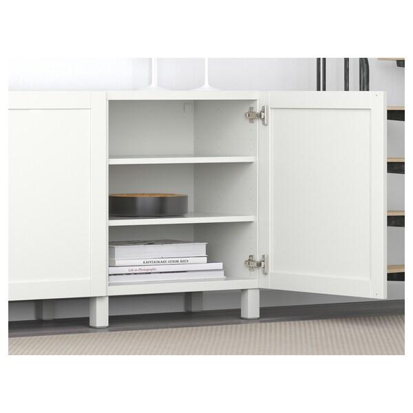 BESTÅ Storage combination with doors, Hanviken white, 180x40x74 cm
