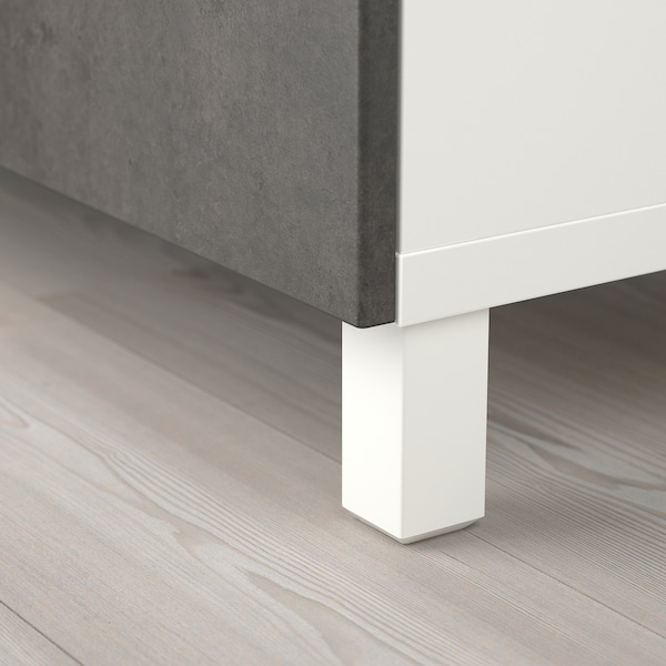 BESTÅ storage combination with doors white/Kallviken/Stubbarp concrete effect 120 cm 42 cm 202 cm