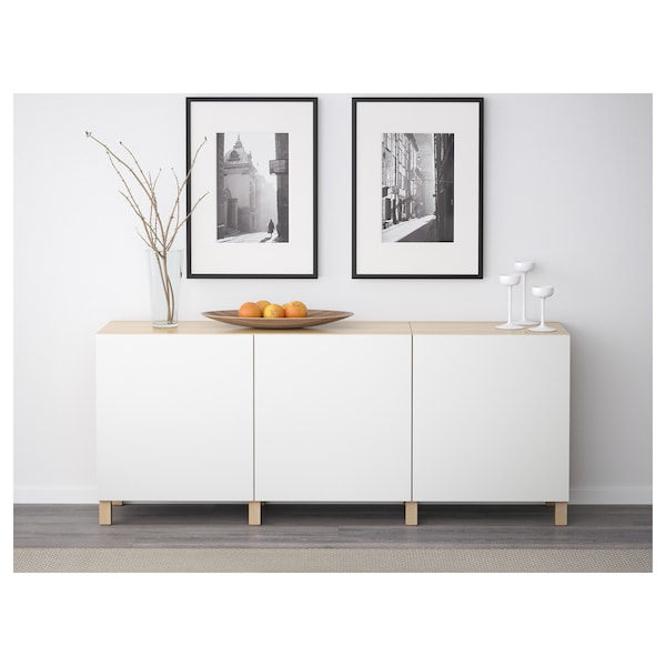 BESTÅ Storage combination with doors, white stained oak effect/Lappviken white, 180x42x74 cm