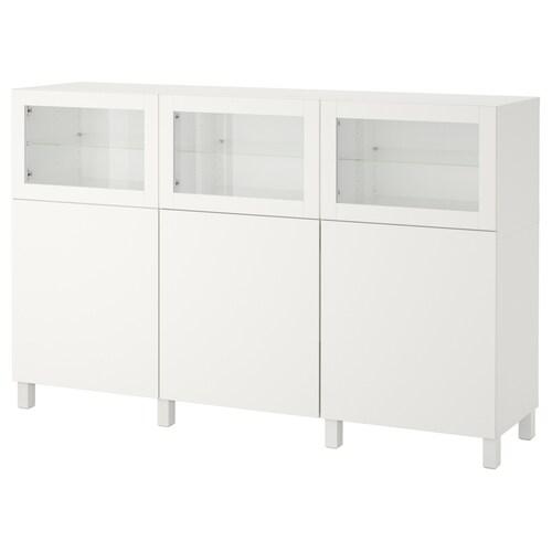 BESTÅ storage combination with doors white Lappviken/Sindvik white clear glass 180 cm 42 cm 112 cm