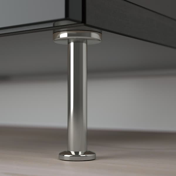 BESTÅ storage combination with doors black-brown/Selsviken/Stallarp high-gloss/black 120 cm 40 cm 74 cm