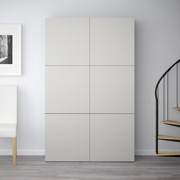 BESTÅ storage combination with doors black-brown/Lappviken light grey 120 cm 40 cm 192 cm