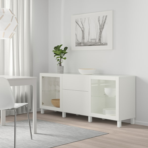 BESTÅ Storage combination with drawers, white Lappviken/Sindvik/Stubbarp white clear glass, 180x42x74 cm