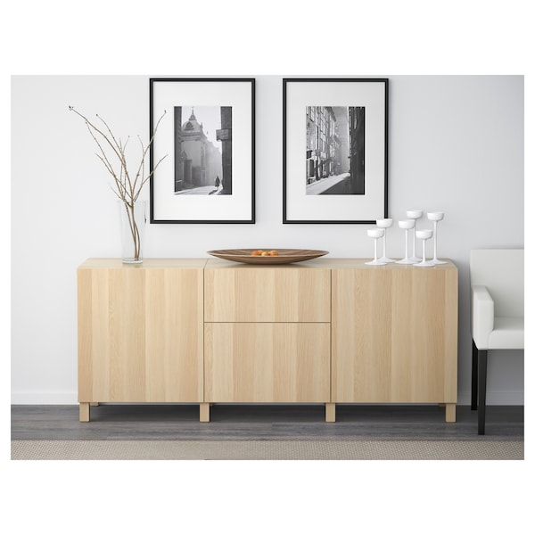 BESTÅ storage combination with drawers white stained oak effect/Lappviken white stained oak eff clear glass 180 cm 40 cm 74 cm