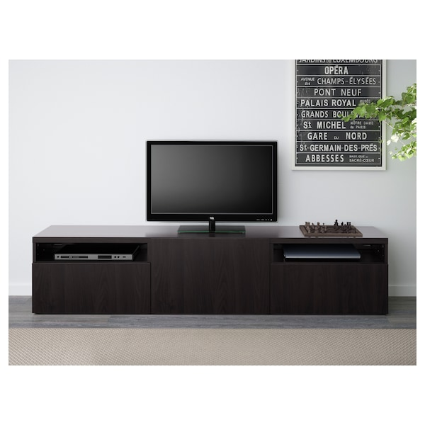 BESTÅ TV bench, black-brown/Lappviken black-brown, 180x42x39 cm