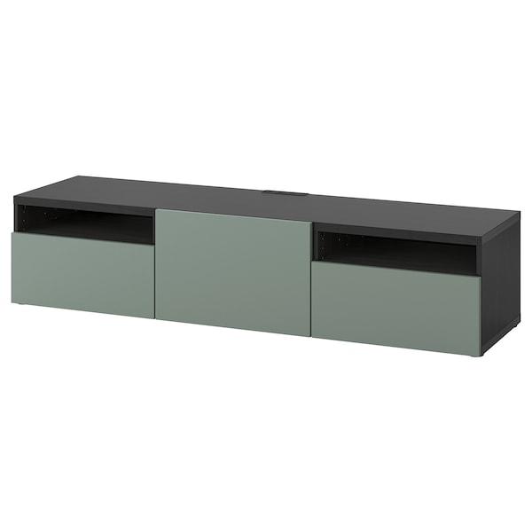 BESTÅ TV bench, black-brown/Notviken grey-green, 180x42x39 cm