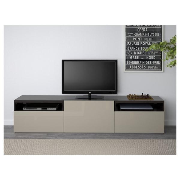 BESTÅ TV bench, black-brown/Selsviken high-gloss/beige, 180x42x39 cm