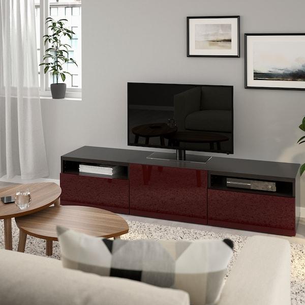 BESTÅ TV bench, black-brown Selsviken/high-gloss dark red-brown, 180x42x39 cm