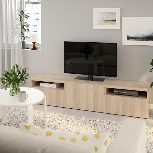 BESTÅ TV bench, white stained oak effect/Lappviken white stained oak effect, 180x42x39 cm