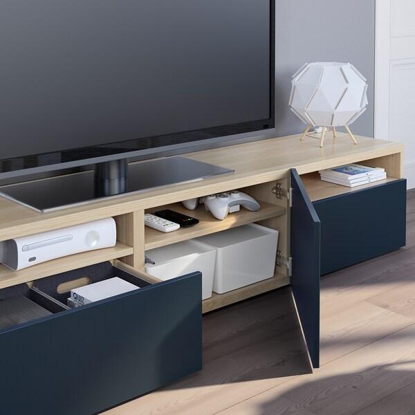 BESTÅ TV bench, white stained oak effect/Notviken blue, 180x42x39 cm