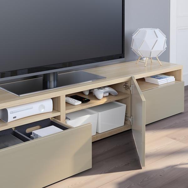 BESTÅ TV bench, white stained oak effect/Selsviken high-gloss/beige, 180x42x39 cm