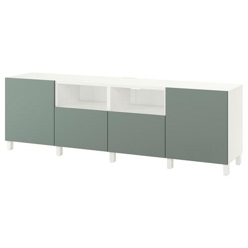 BESTÅ TV bench with doors and drawers white/Notviken/Stubbarp grey-green 240 cm 42 cm 74 cm