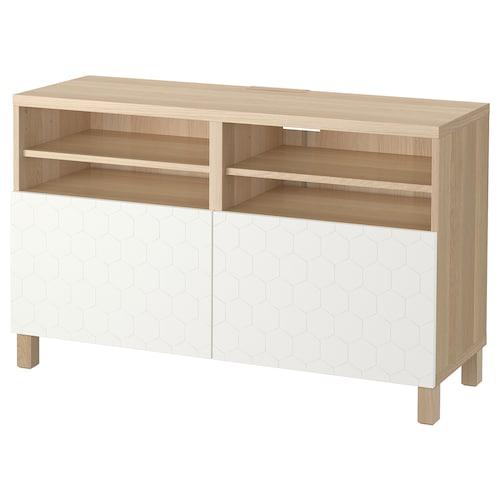 BESTÅ TV bench with doors white stained oak effect/Vassviken/Stubbarp white 120 cm 42 cm 74 cm 50 kg