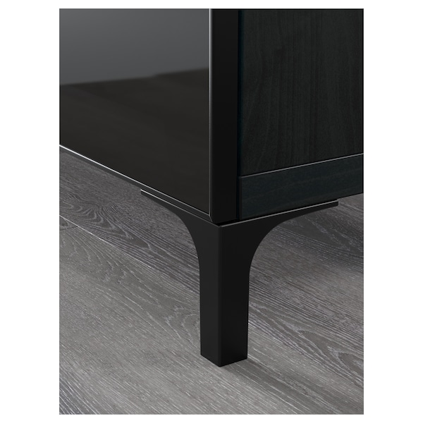 BESTÅ TV bench black-brown/Selsviken/Nannarp high-gloss/black smoked glass 180 cm 42 cm 48 cm 50 kg
