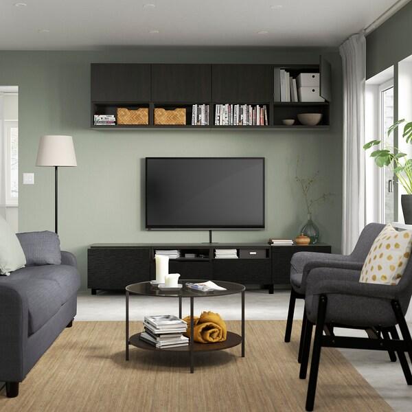 BESTÅ TV storage combination, black-brown Laxviken/Lappviken/Stubbarp black, 240x42x230 cm