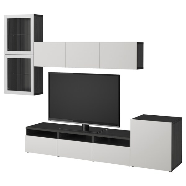 BESTÅ TV storage combination/glass doors black-brown/Lappviken light grey clear glass 300 cm 211 cm 42 cm
