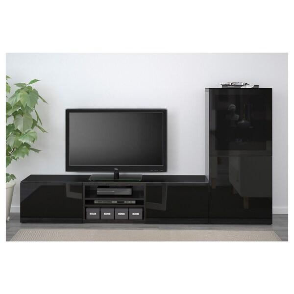 BESTÅ TV storage combination/glass doors black-brown/Selsviken high-gloss/black smoked glass 240 cm 40 cm 128 cm 50 kg