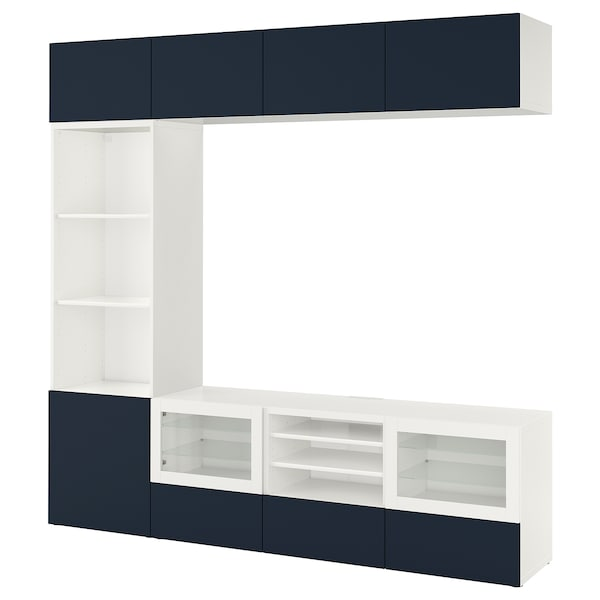 BESTÅ TV storage combination/glass doors white/Notviken blue clear glass 240 cm 42 cm 230 cm