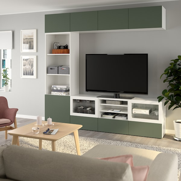 BESTÅ TV storage combination/glass doors, white/Notviken grey-green clear glass, 240x42x230 cm