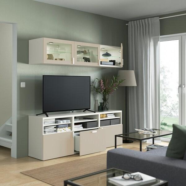 BESTÅ TV storage combination/glass doors, white Sindvik/Lappviken light grey/beige, 180x42x192 cm