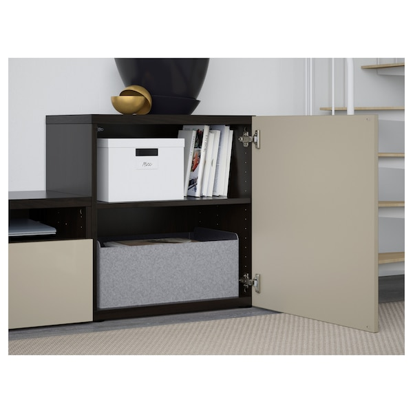 BESTÅ TV storage combination/glass doors black-brown/Selsviken high-gloss/beige smoked glass 300 cm 211 cm 42 cm